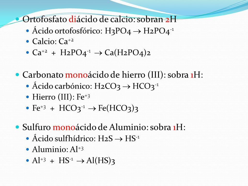 Ortofosfato diácido de calcio: sobran 2H