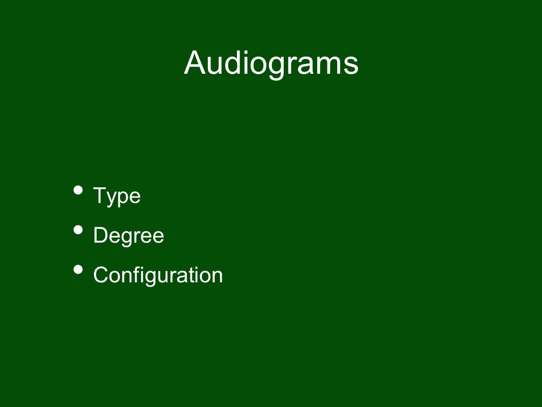 Audiograms Type Degree Configuration