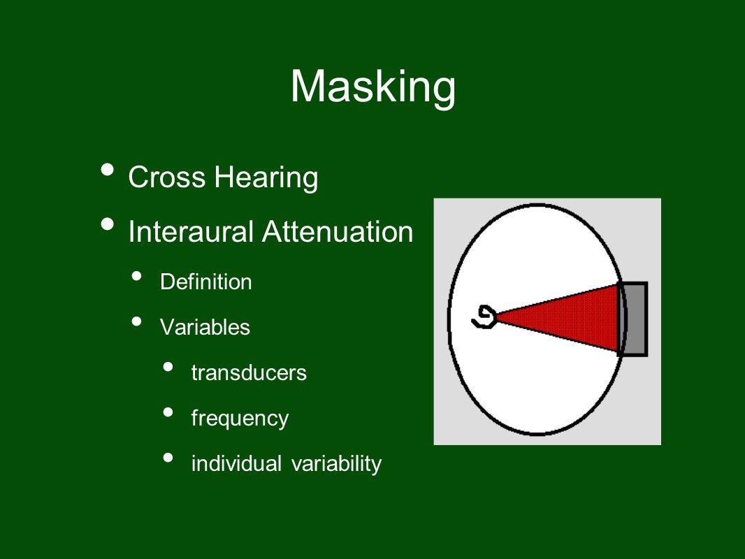 Masking Cross Hearing Interaural Attenuation Definition Variables