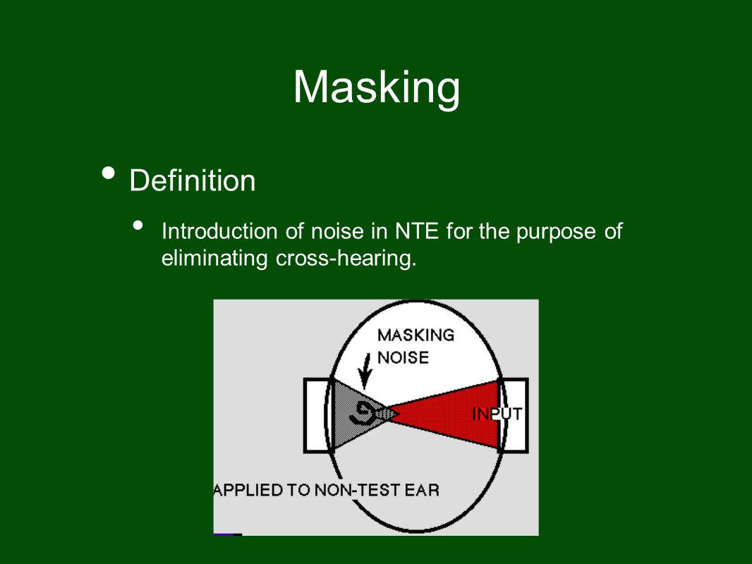 Masking Definition Introduction of noise in NTE for the purpose of eliminating cross-hearing.