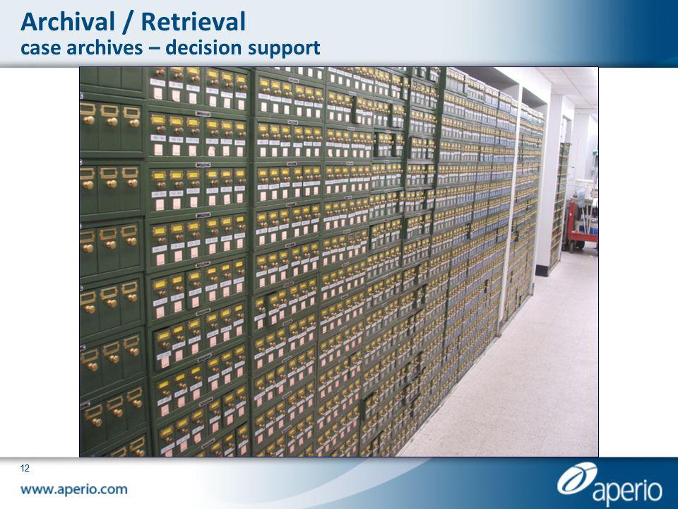 Archival / Retrieval case archives – decision support