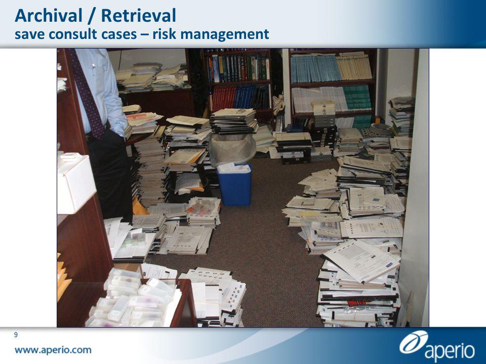 Archival / Retrieval save consult cases – risk management