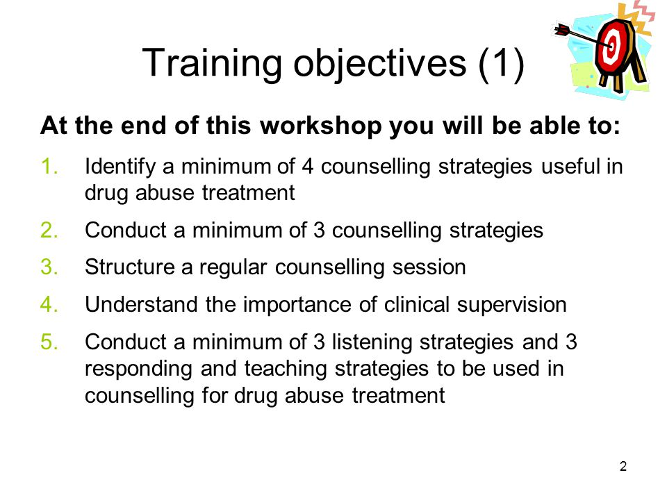 Training objectives (1)