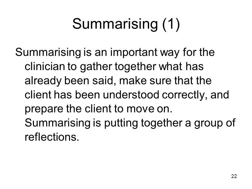 Summarising (1)