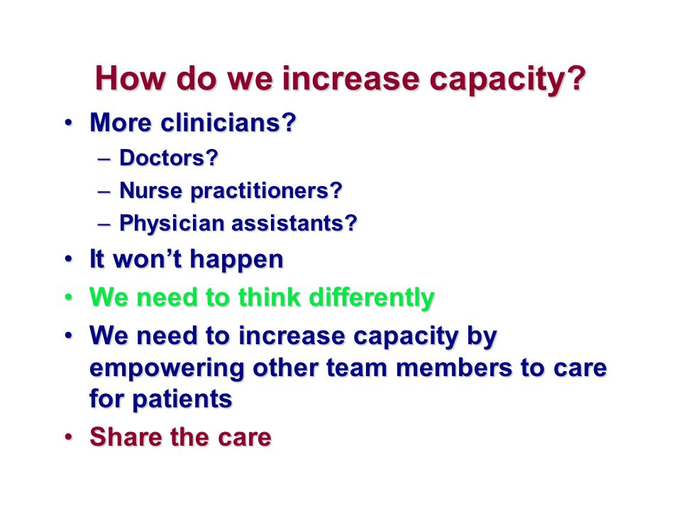 How do we increase capacity