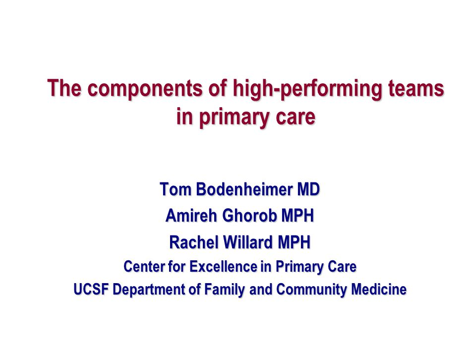 The components of high-performing teams in primary care