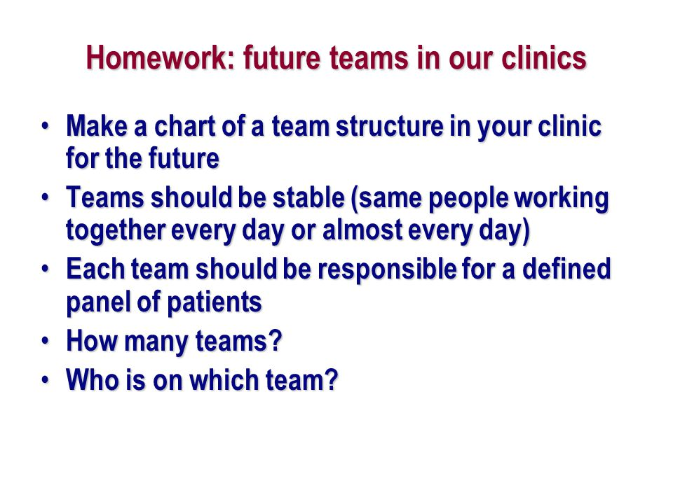 Homework: future teams in our clinics
