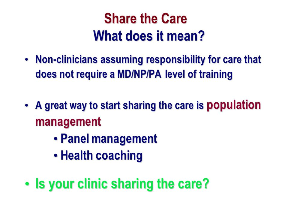 Share the Care What does it mean