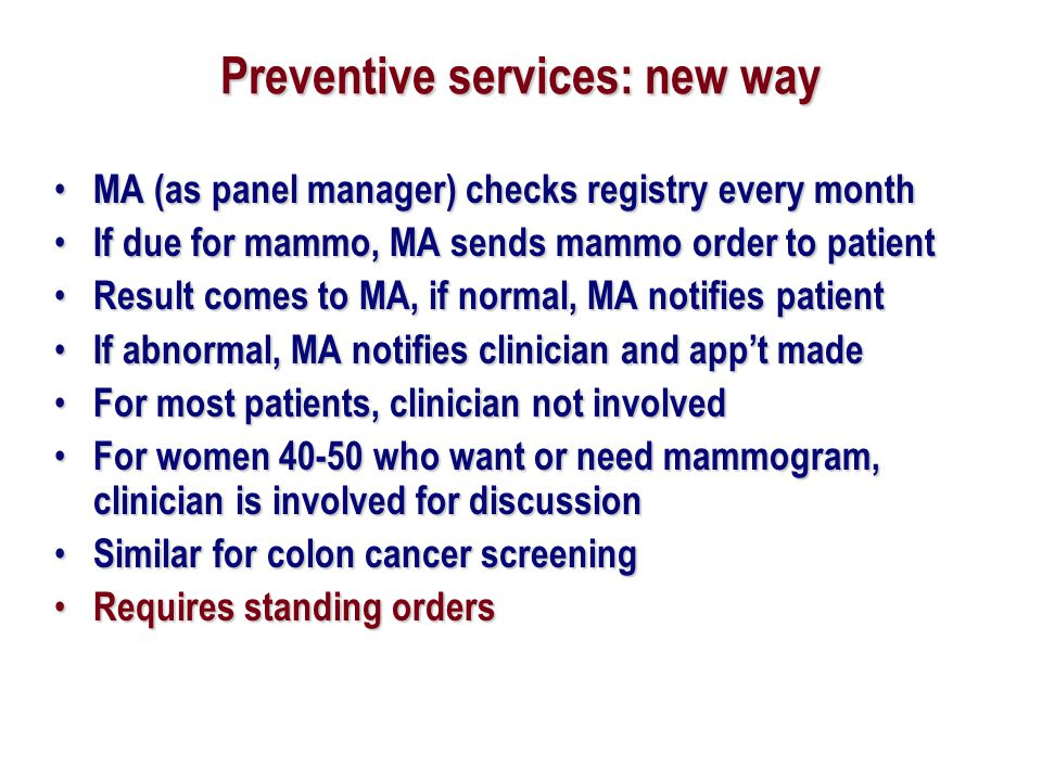 Preventive services: new way