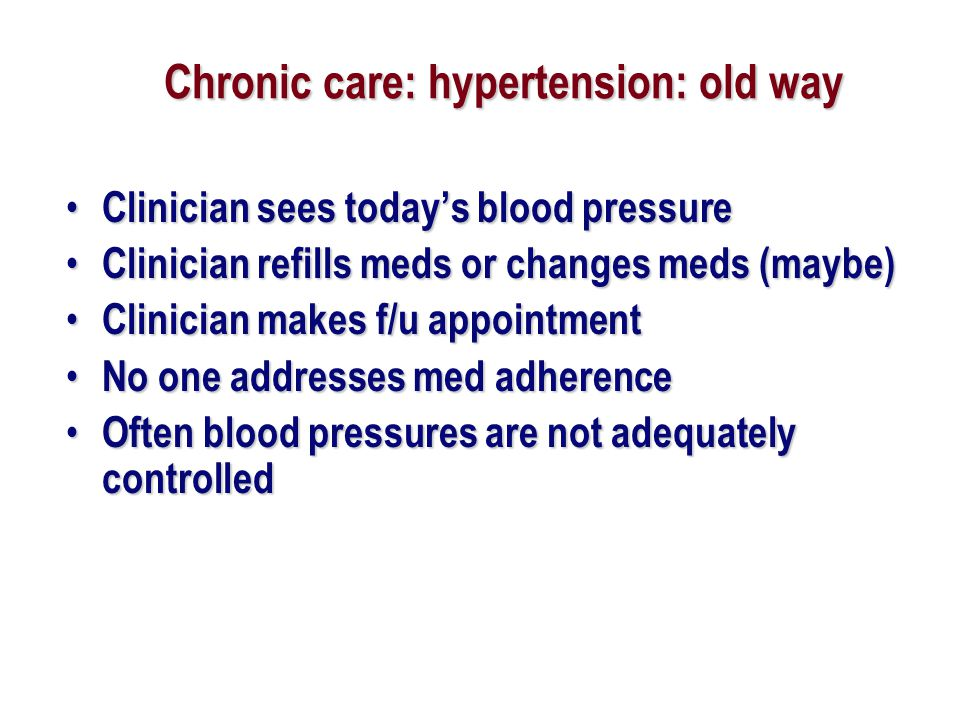 Chronic care: hypertension: old way