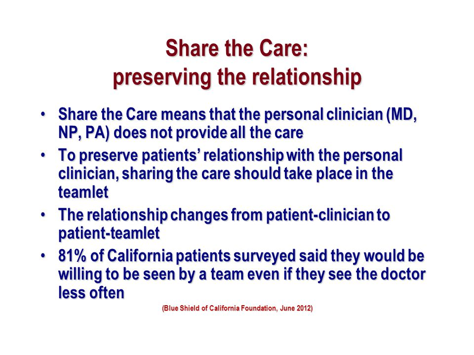 Share the Care: preserving the relationship
