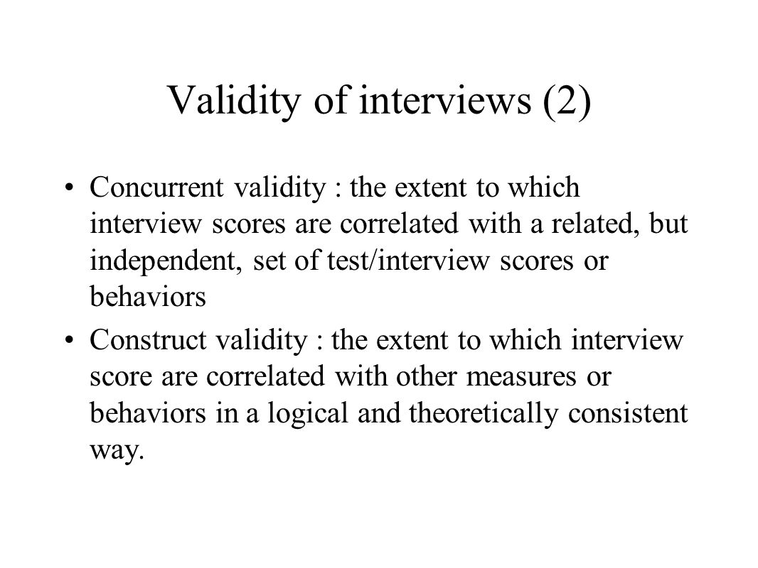 Validity of interviews (2)