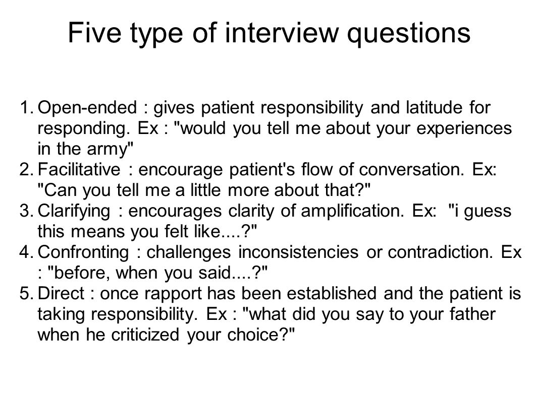 Five type of interview questions