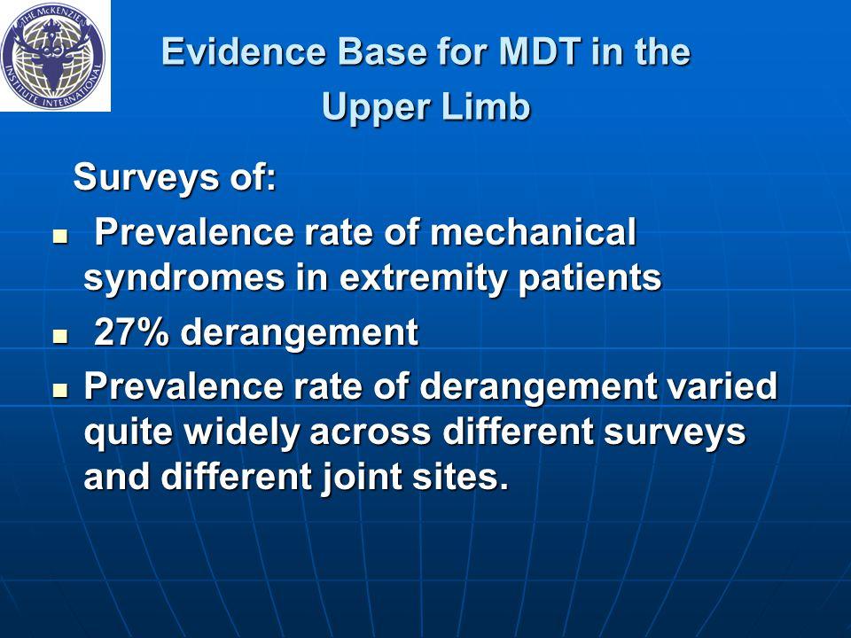Evidence Base for MDT in the Upper Limb