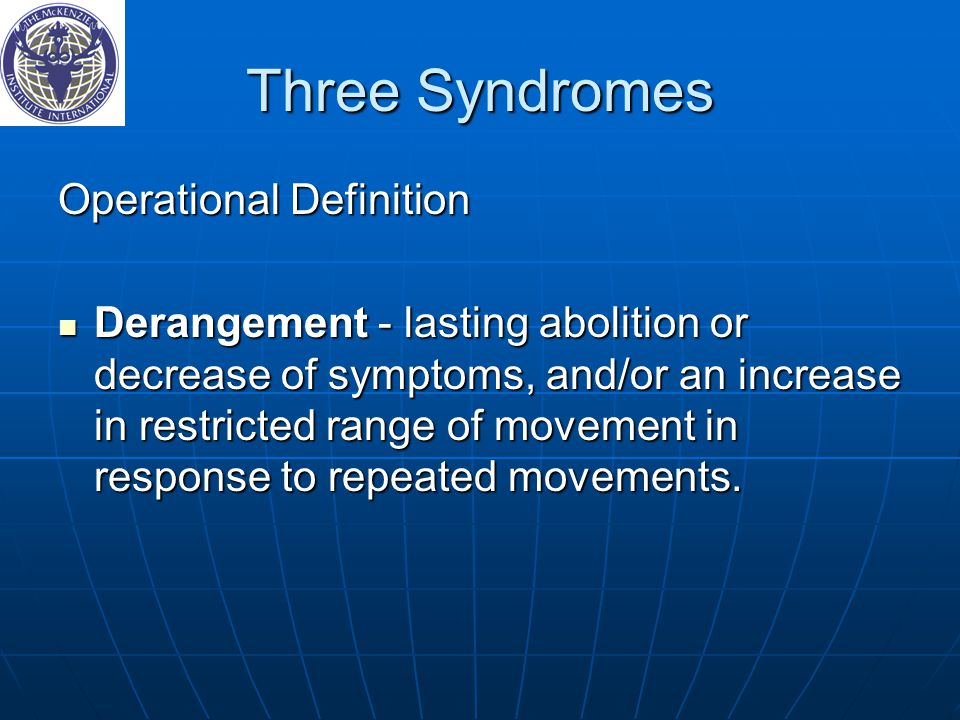 Three Syndromes Operational Definition