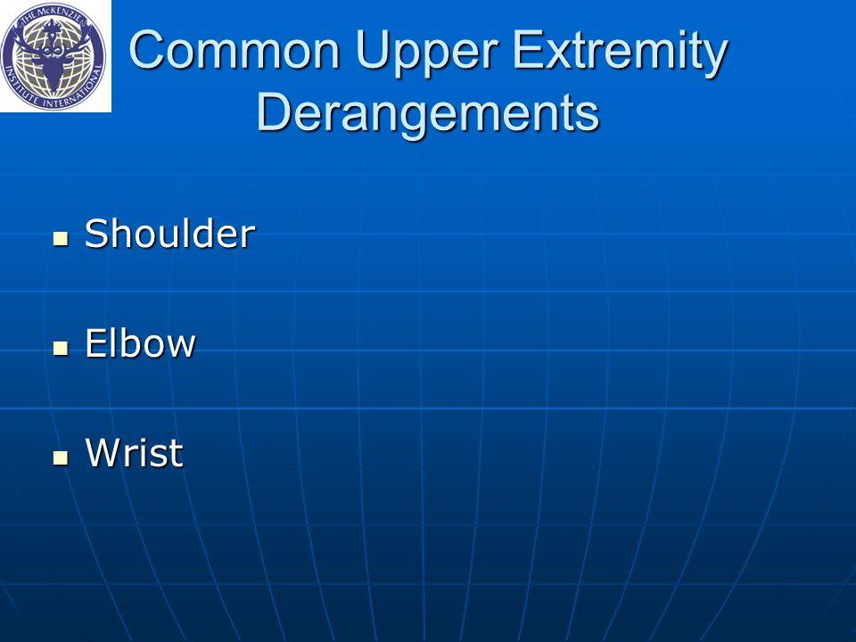 Common Upper Extremity Derangements