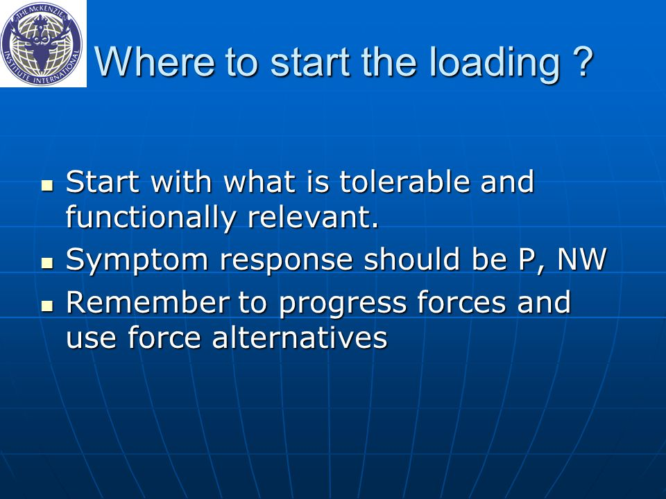 Where to start the loading