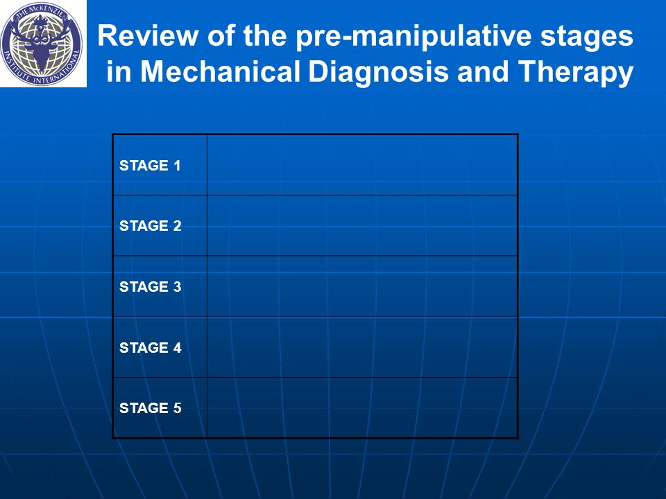 Review of the pre-manipulative stages