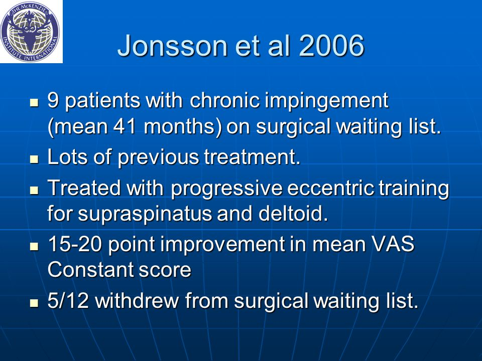 Jonsson et al 2006 9 patients with chronic impingement (mean 41 months) on surgical waiting list. Lots of previous treatment.