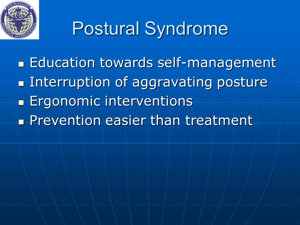 Postural Syndrome Education towards self-management