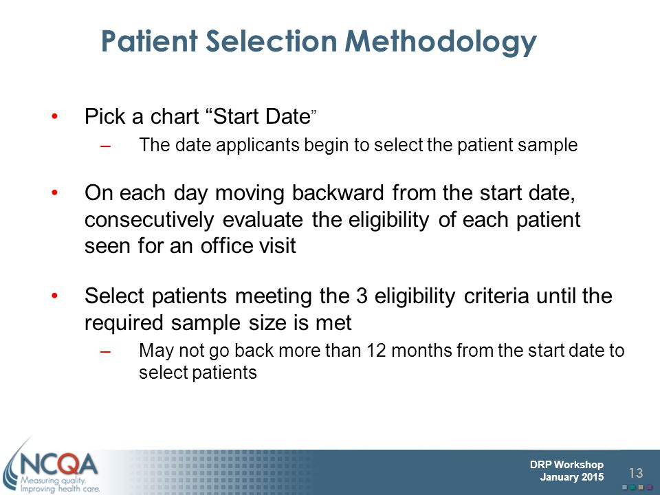 Patient Selection Methodology
