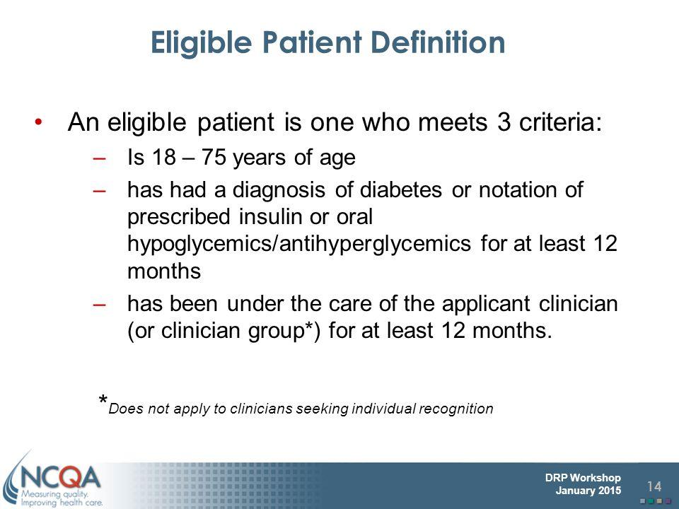 Eligible Patient Definition