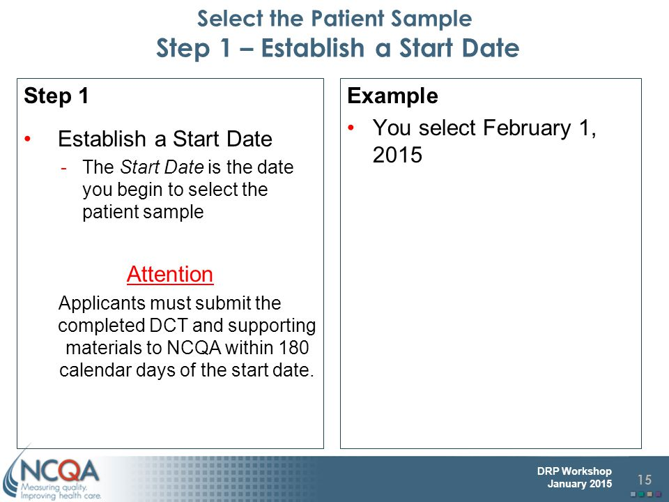 Select the Patient Sample Step 1 – Establish a Start Date