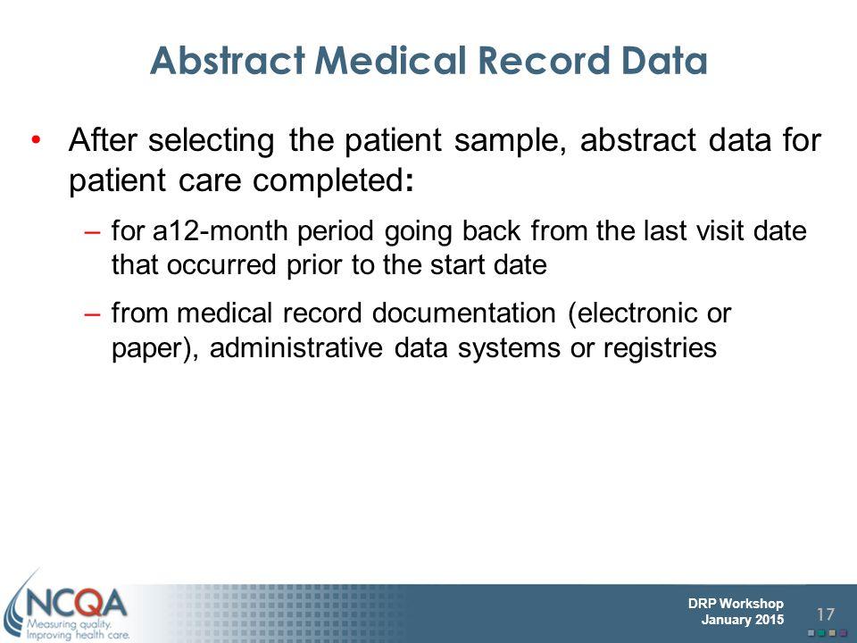 Abstract Medical Record Data