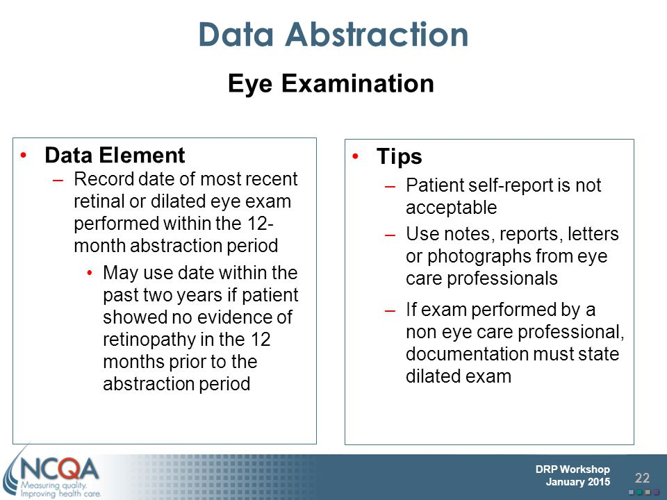 Data Abstraction Eye Examination Data Element Tips