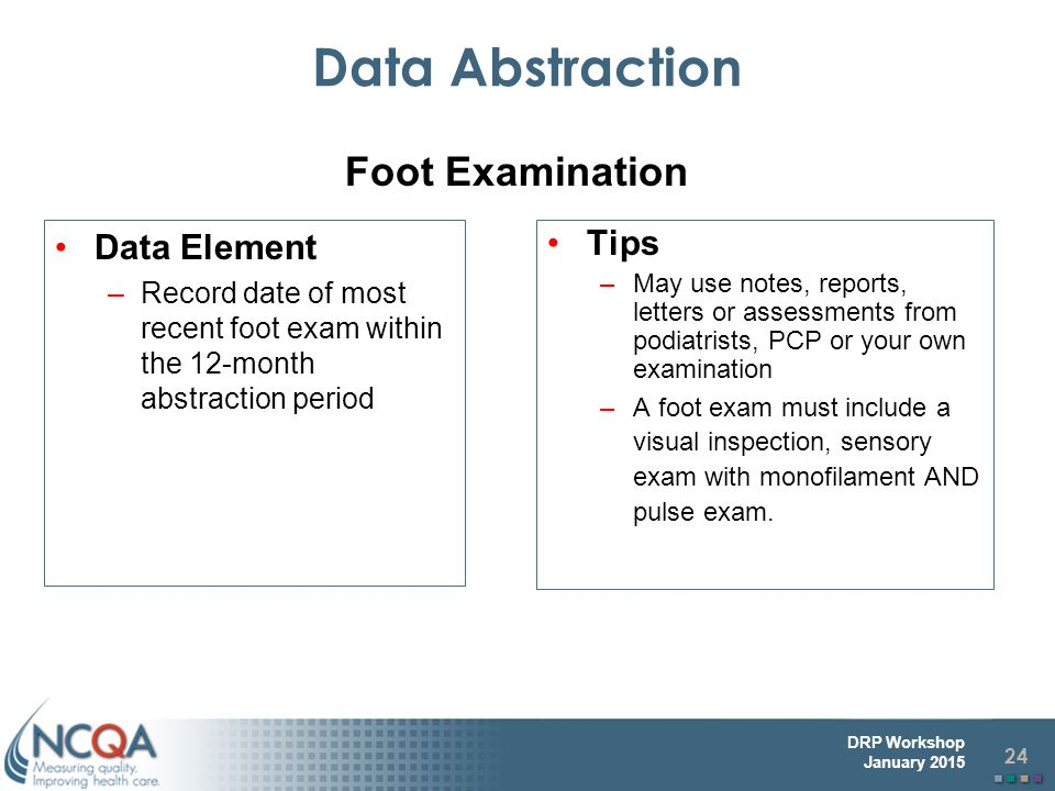 Data Abstraction Foot Examination Data Element Tips