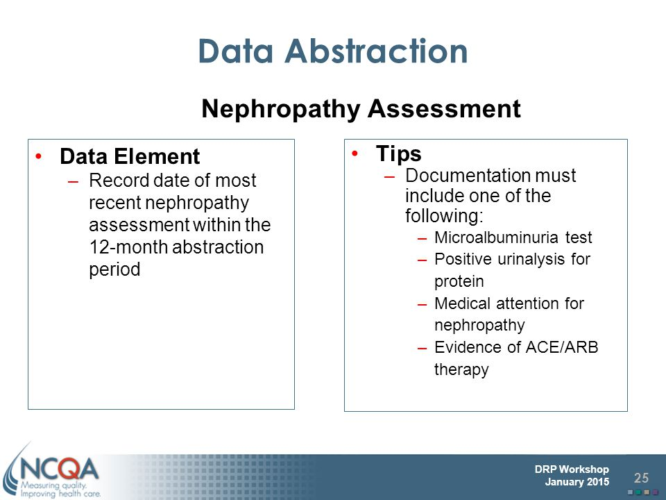Data Abstraction Nephropathy Assessment Data Element Tips