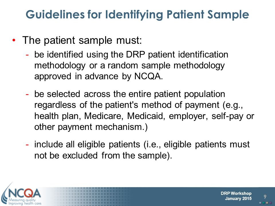 Guidelines for Identifying Patient Sample