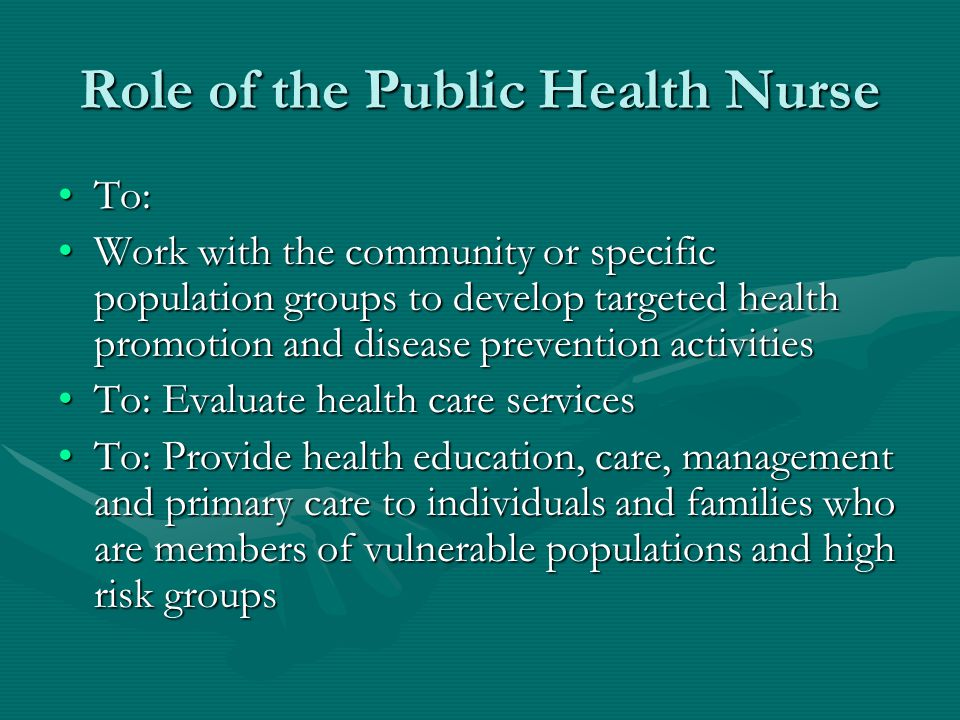 Role of the Public Health Nurse