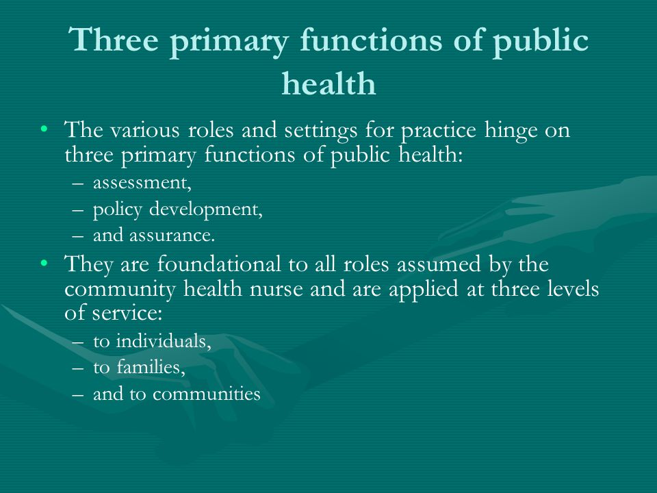 Three primary functions of public health