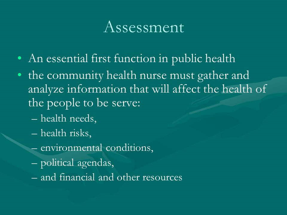 Assessment An essential first function in public health