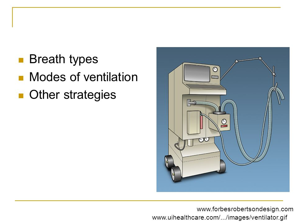 Breath types Modes of ventilation Other strategies