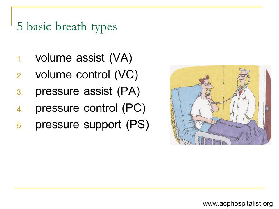 5 basic breath types volume assist (VA) volume control (VC)
