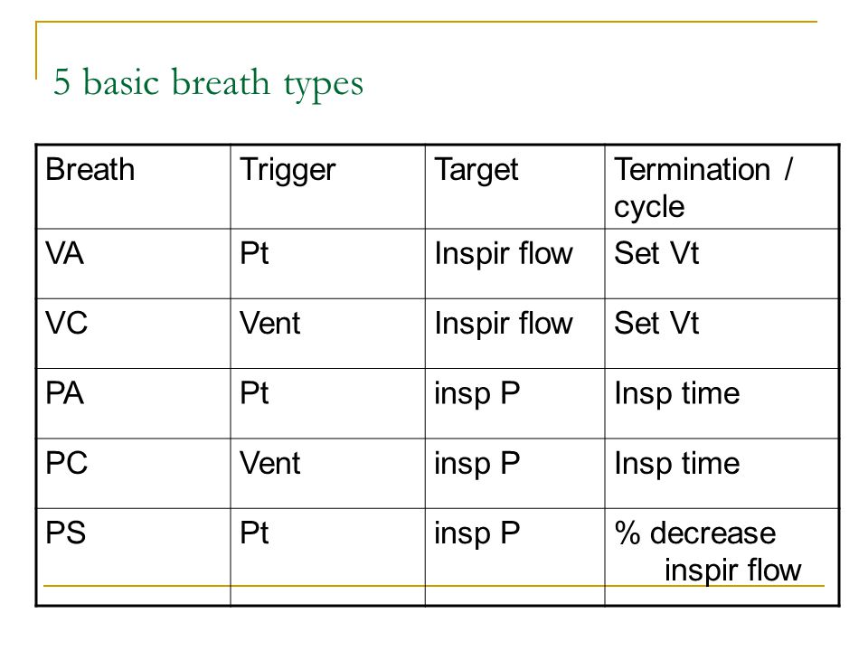 5 basic breath types Breath Trigger Target Termination / cycle VA Pt