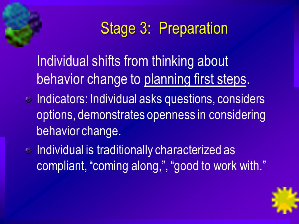 Stage 3: Preparation Individual shifts from thinking about behavior change to planning first steps.