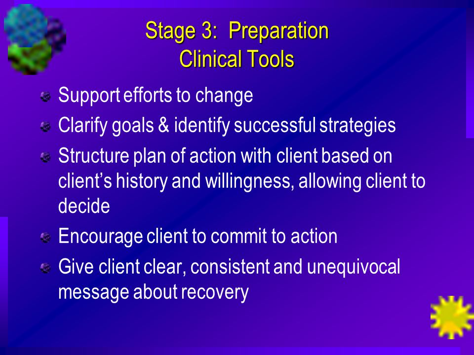 Stage 3: Preparation Clinical Tools