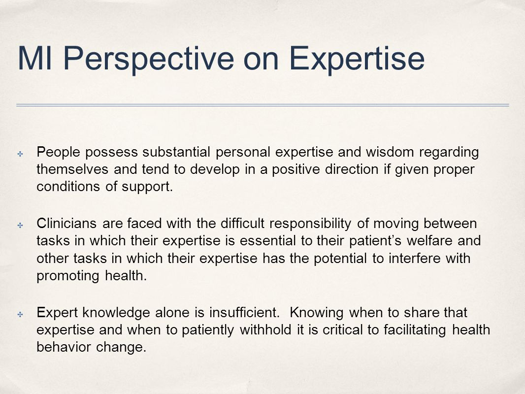 MI Perspective on Expertise