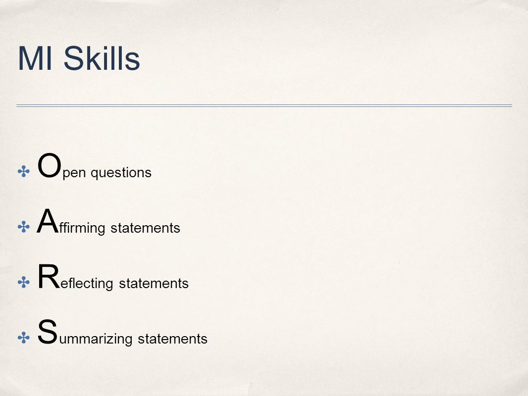 Reflecting statements Summarizing statements