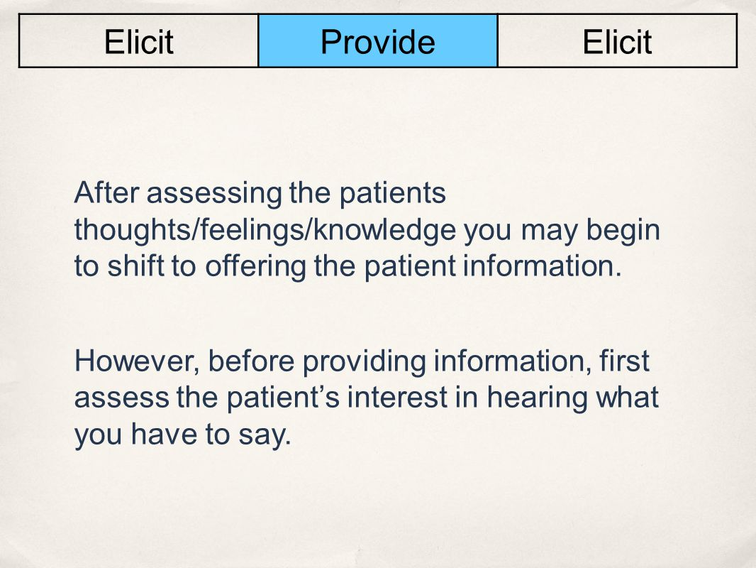 Elicit Provide. After assessing the patients thoughts/feelings/knowledge you may begin to shift to offering the patient information.