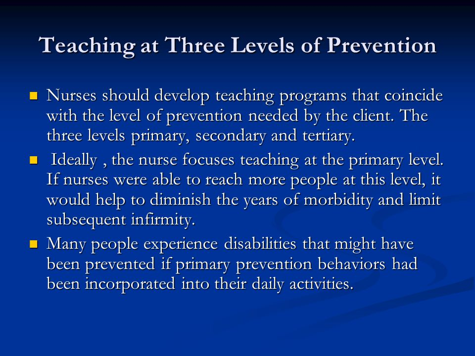 Teaching at Three Levels of Prevention