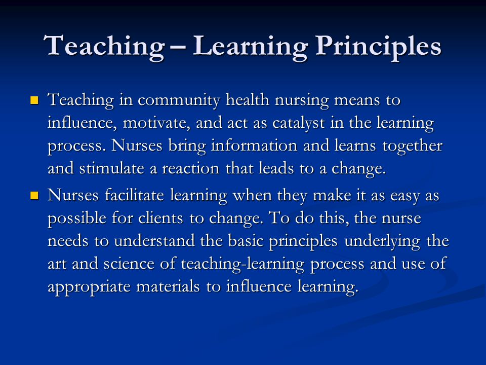 Teaching – Learning Principles