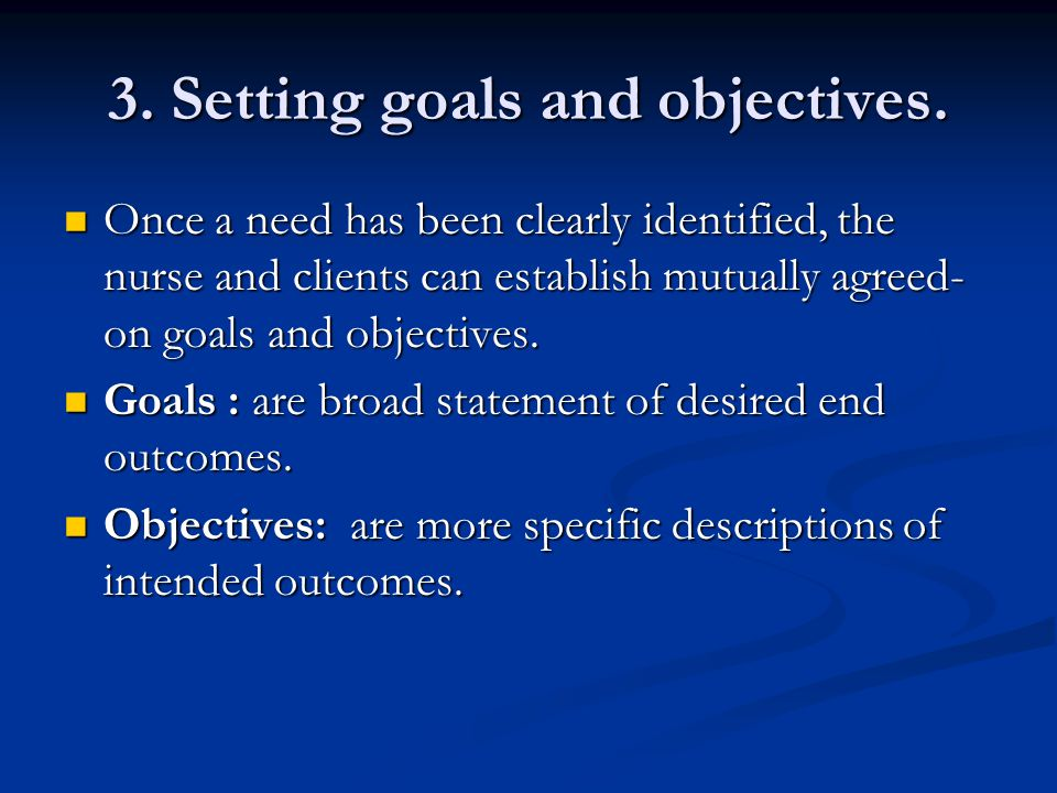 3. Setting goals and objectives.