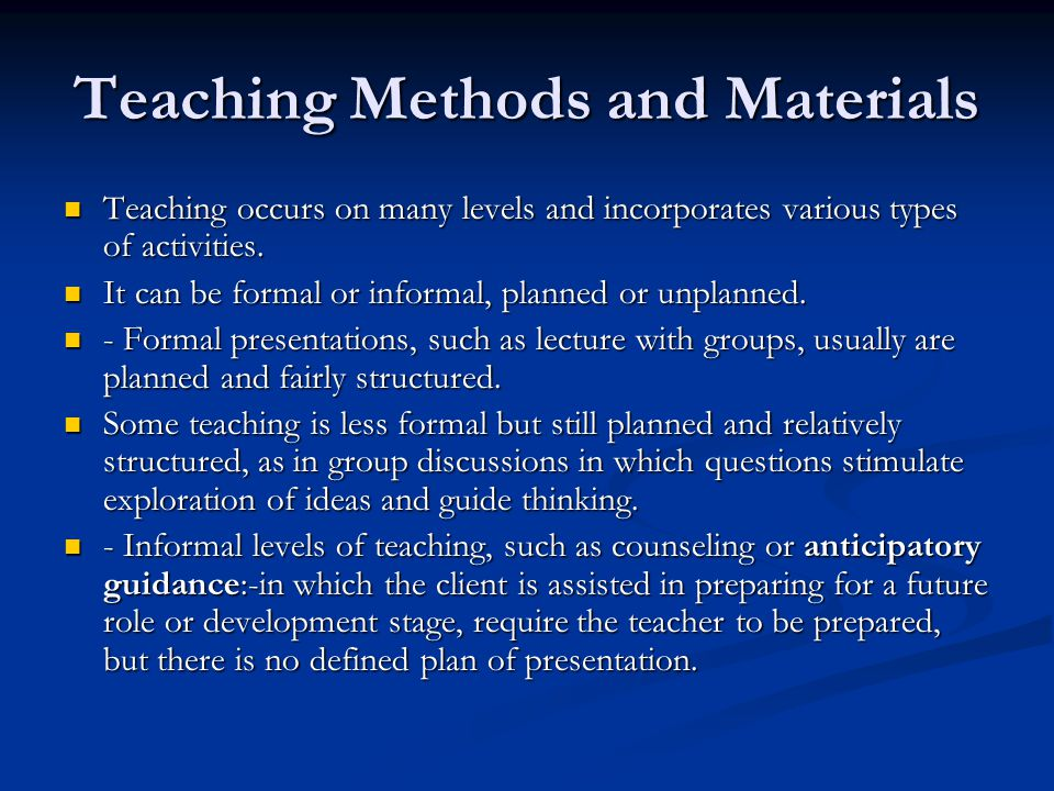 Teaching Methods and Materials