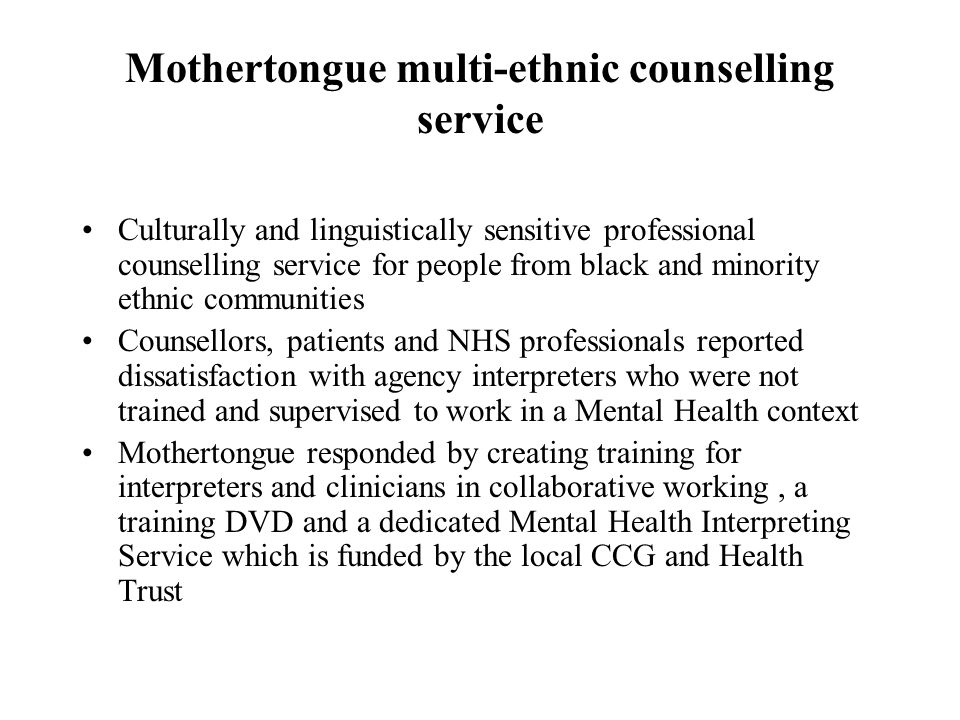 Mothertongue multi-ethnic counselling service
