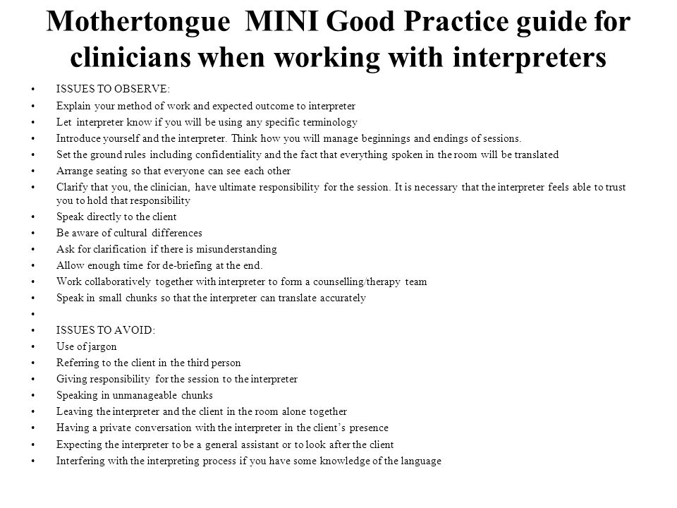 Mothertongue MINI Good Practice guide for clinicians when working with interpreters