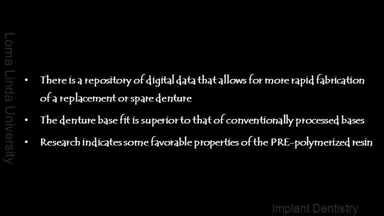 There is a repository of digital data that allows for more rapid fabrication of a replacement or spare denture